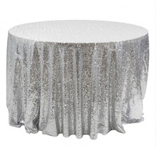 Customize Order-2 pcs 132inch Round Silver Sequin Tablecloth for Christmas/Wedding/Birthday Party Decorations