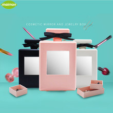 Fashion Perfume Bottle Makeup Mirror with Jewelry Storage Boxes Portable PS Cosmetic Mirror Home Table Decor Mirror Container