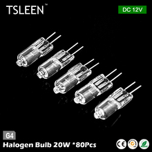 halogen bulb+TSLEEN 80pieces g4 base jc type tungsten halogen lamp light super bright lampada alogena g4 12v 20w