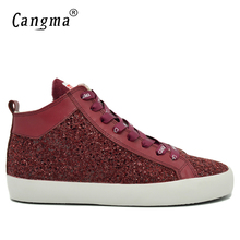 CANGMA Original Fashion Man Sequined Wine Red Casual Shoes Men Sneakers Glitter Flats Male Lace Up Shoes Mid Breathable Footwear(China)
