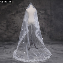 2017 Bridal Veil White Ivory 3m Long Wedding Veil Mantilla Wedding Accessories Veu De Noiva With Lace Flowers Beadwork