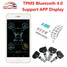 New TPMS Bluetooth 4.0 Mobile Phone APP Control Display Tire Pressure Monitor Systems 4 Internal/external Sensors OBD Interface(China)