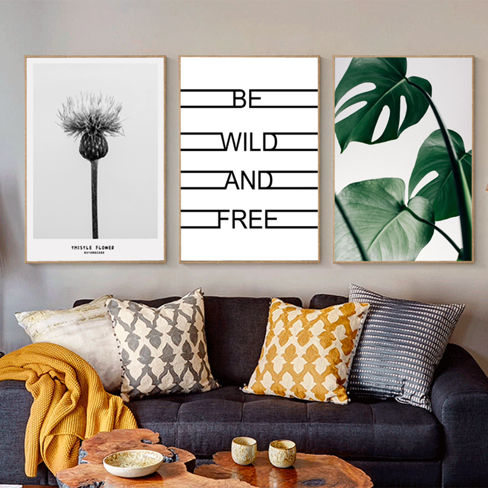Color printing quotes - Gray Dandelion Tropical Plant Leaves Quote Posters Print Wall Pictures For Living Room Wall Art Canvas