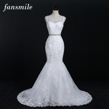 Fansmile Free Shipping Quality Lace Mermaid Wedding Dresses 2017 Plus Size Customized Bridal Gowns Real Photo Vestidos FSM-011M(China)