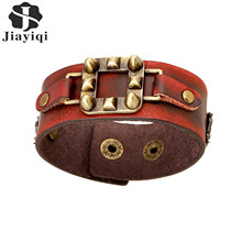 Jiayiqi 2017 Hot Red Brown Bracelets & Bangles For Women Men Jewelry Wide Cuff Leather Bracelets Spikes Rivet Stud 2 Snaps