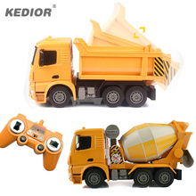 RC Truck Big Dump Truck Electric Engineering Machine Radio Controlled Construction RC Tanker Cement Mixer Toy Car With Battery(China)