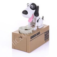 Kids Gift Cute White Black Brown Dogs Puppy Money Box Robot Robotic Eating Coin Money Bank Saving Box For Children 's Day