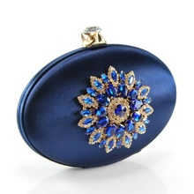 Women's Fashion Party Cocktail Prom Handbag Crystal Metal Flower Appliques Navy Blue Evening Clutch Bag Wedding Clutches Purse(China)