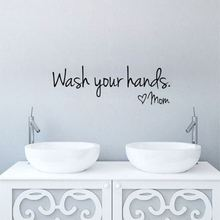 New Removable Wall Decal Wash Your Hands Mom Sticker Bathroom Lettering Sign Bathroom Wall Decor(China)