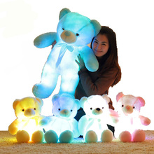 50CM Creative Light Up LED Inductive Teddy Bear Stuffed Animals Plush Toy Colorful Glowing Teddy Bear Christmas Gift for Kids(China)