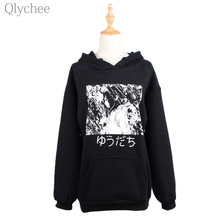 Qlychee BF Style Winter Black Women Hoodies Long Sleeve Japanese Manga Comics Print Sweatshirt Anime Pattern Loose Hoodies