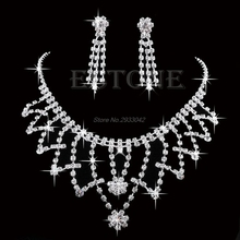 Wedding Bride Bridesmaid Crystal Rhinestone Necklace Earring Prom Jewellery Sets-W128(China)
