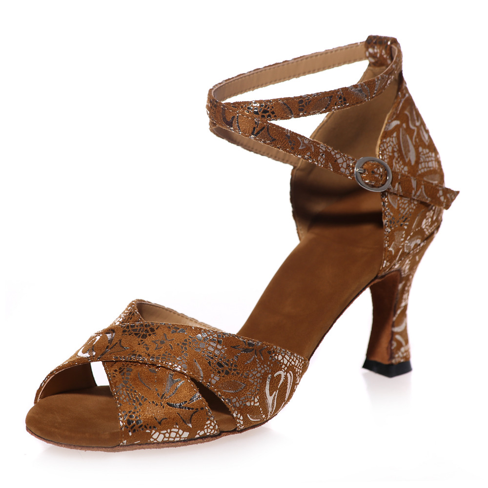 Sexy crossed bands girl sandals woman flock dancing latin jazz belly ball prom dance shoes soft leather sole brown gold black<br><br>Aliexpress