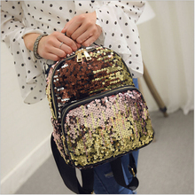 2017 New Arrival Women All-match Bag PU Leather Sequins Backpack Girls Small Travel Princess Bling Backpacks