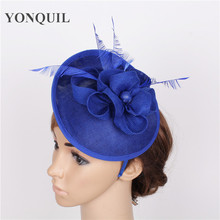 High quality 17 color royal blue hair fascinators for short hair sinamay fascinators hats wedding hair accessories occasion hats