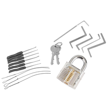 Locksmith Tools Kit 3 In 1 Set Transparent Lock 5pcs Locksmith Wrench Tools 10pcs Locksmith Broken Key Extractor Tools 2 keys(China)