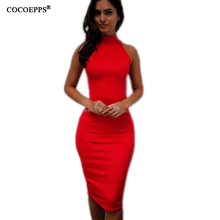 Buy High fashion 2017 Red dress Sexy Party dresses sleeveless Slim pencil dress sexy bodycon dress vestidos free for $16.98 in AliExpress store