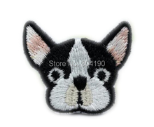 Cute Dog French Bulldog emoji Patches for clothing Embroidered Face applique sew on iron on badge party favor wholesaler factory(China)