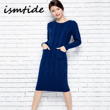 Buy Knitted Long Sweater Dress Wool Women Autumn Winter Sweater Dress Pullovers O Neck Casual Knitted Dresses Thick Knitwear Sweater for $31.48 in AliExpress store