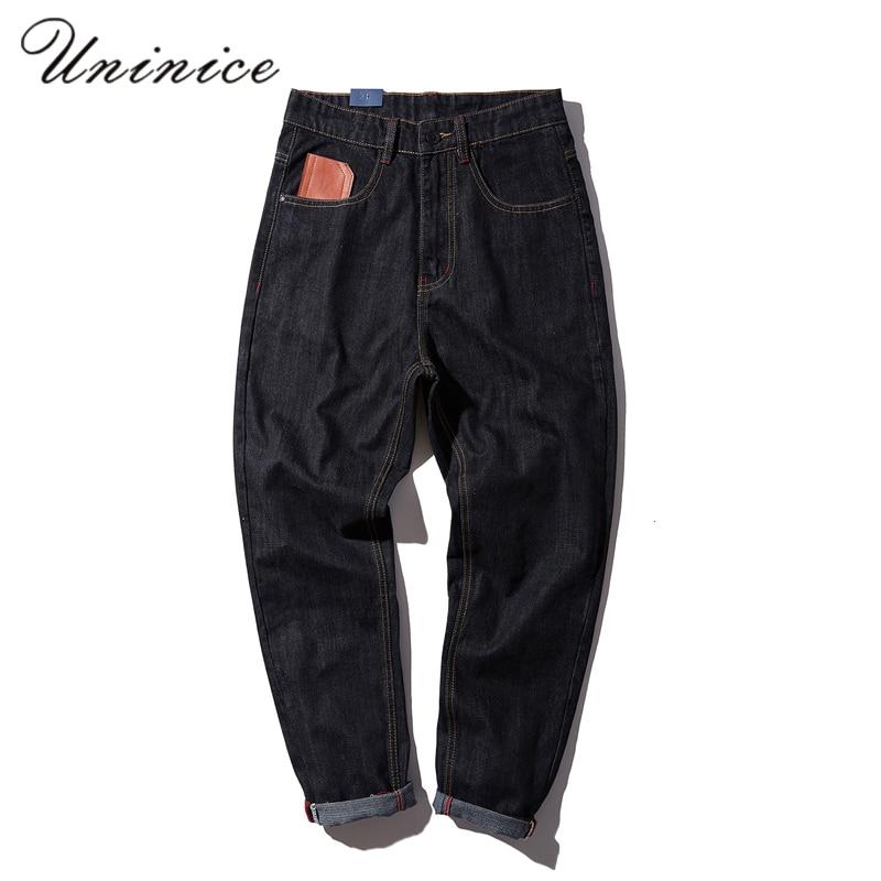 Autumn Winter Mens Fashion Color Cowboy 4XL Pants Male Loose Black Jeans Haren Denim Warm Pants Punk Solid Simple TrousersÎäåæäà è àêñåññóàðû<br><br>