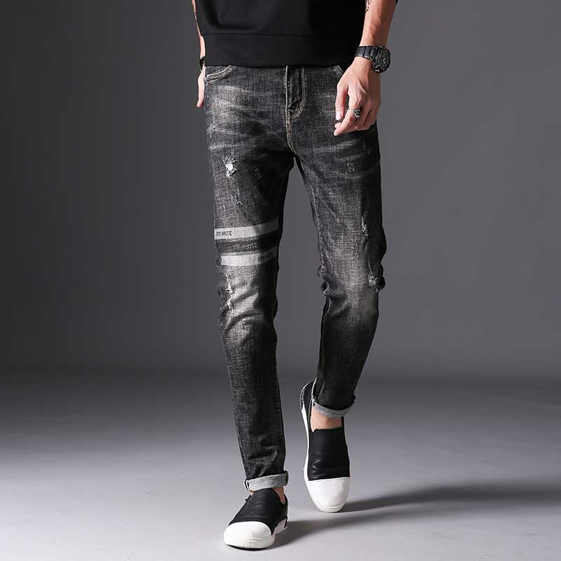 Mens Dark Grey Jeans Patchwork with Holes High Quality Black Slim Denim Pants Fashion Cool Design for Men Autumn Winter 2017Îäåæäà è àêñåññóàðû<br><br>