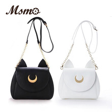 MSMO White/Black Sailor Moon Luna/Artemis Shoulder Bag Ladies Luna Cat Leather Handbag Women Messenger Crossbody Chain Small Bag