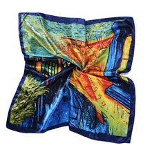2017 luxury brand designer large square scarves for women van Gogh Oil Painting Coffee house foulard satin neck scarf bandana