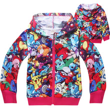 Retail! 4-12 years,childrens autumn jacket coat,baby boy and girls cartoon pokemon go pure cotton Hooded cardigan jacket coat