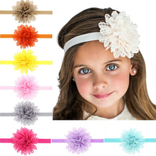 1PC Wholesale Baby Infant Flower Headband Shabby Flowers Pearl Chiffon Flowers Children Hair Bands Girls Hair Accessories w42
