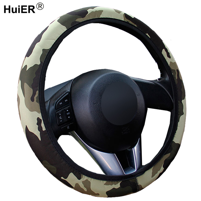 Tivolii Steering Wheel Cover Universal PU Leather Car Auto Steering Wheel Cover with Needles and Thread Breathability Skid-Proof Vehicle Cover
