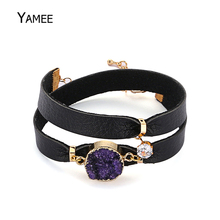 Unique Raw Mineral Purple Natural Druzy Quartz Golden Plated Bracelet Fashion Zircon Leather Rope Chain For Women Charm Gift(China)