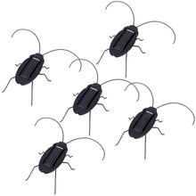 5Pcs Solar Powered Cockroach Trick-playing Toy Insect Bug Teaching Toy Gift Mini Black Cockroach Educational Toys New Arrival