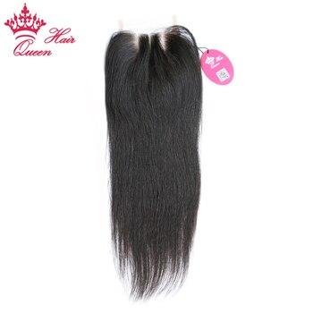 Королева волос продукты закрытия шнурка прямой Девы волос натуральный Цвет 100% человеческих волос из трех частей Бесплатная доставка