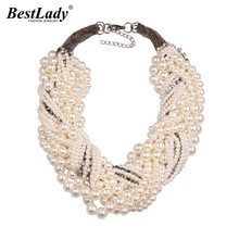 Best lady New Fashion Z Bib Collar Necklace & pendant Luxury Choker Simulated pearl Necklace Statement Jewelry9955(China)