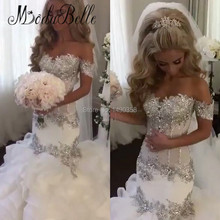 2017 Sparkly Silver Crystal Wedding Dresses Mermaid Luxury African Robe De Mariage Bling Bridal Gowns Tiered Court Train