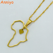 Anniyo Gold Color Africa Map Pendant Necklaces Heart African of Maps Jewelry Charms #010421(China)