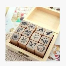 (1 Lot=3 Pcs) DIY Scrapbooking Vintage Flowers Stamp Wooden Box Birds Stamps Decoration Stamp Set