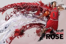 1134 Derrick Rose Chicago Bulls NBA MVP Basketball Star-Wall Sticker Art Poster For Home Decor Silk Canvas Painting