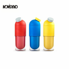 MOM'S HAND 380ML Multi-function Creative Design Pills Plastic Water Bottle Small Yellow People Cute Cartoon Cover Portable Capsu(China)