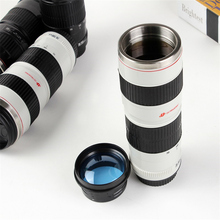 stainless steel  Emulation SLR Camera 70-200mm  Lens Camera Coffee Mug Beer Wine mugs With Lid White CANON Logo Mugs