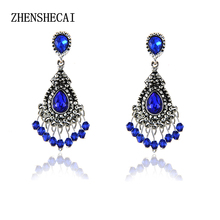 Blue/Silver Color Chandelier Crystal Long Earrings for Women Rhinestone Hanging Earrings Bridal Wedding Jewelry e0231(China)