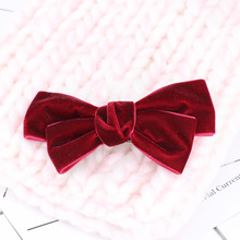 On Sale 1pcs New Velvet Bows Hair Clips Fashion Bowknot Hairclips For Women Girls Hair Accessories Hair Barrettes(China)