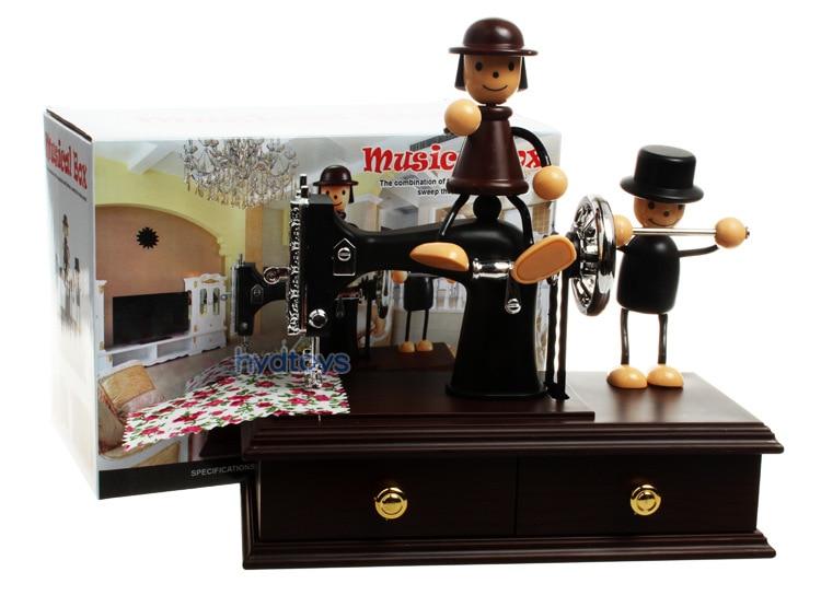 Doll hand sewing machine music box Retro desktop music lovers sewing machine gift box<br><br>Aliexpress