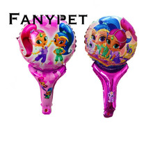 shimmer shine 12pcs handheld balloons cute cartoon Princess foil ballons baby shower birthday party decorations kid's toys(China)
