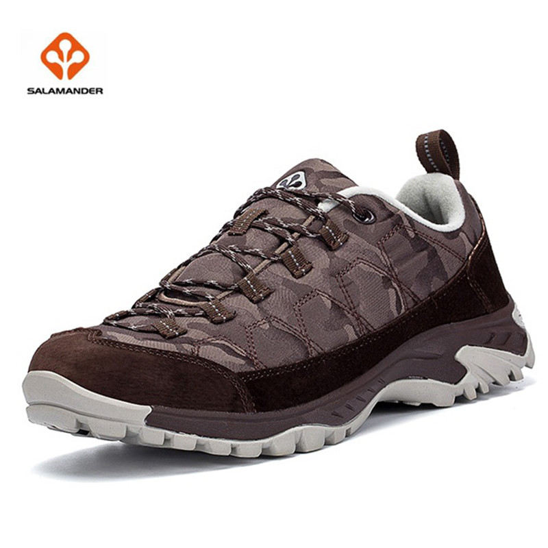 Salamander Good Quality Pig Leather Textile EVA Rubber Sole Men's Hiking Shoes Comfortable Breathable Male Outdoor Shoes SLM6919(China (Mainland))