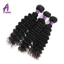 Alimice Hair Indian Hair Deep Wave Extensions 100% Human Hair Weave Bundles Non-Remy Hair Weaves Can Be Dyed Natural Color