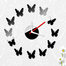 12 Butterflies Wall Clock Modern Design Stickers Set DIY Mirror Effect Acrylic Glass Decal Home Decoration horloge