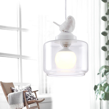 Contemporary Contracted Creative Personality Retro Art Glass Chandelier Cafe Restaurant Nordic Birds Lanterns Bedroom Droplight
