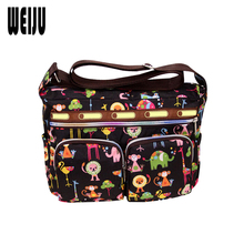 WEIJU Women Messenger Bags Flower Print Beach Bag Nylon Crossbody Bags 2017 New Summer Casual Shoulder Bag