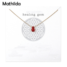 Healing Gem Carnelian Necklace Gold Dipped Pendant Necklace Clavicle Chain Statement Necklace Women Jewelery T0308